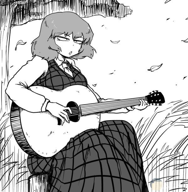 بنت انمي تعزف موسيقى بالجيتار.