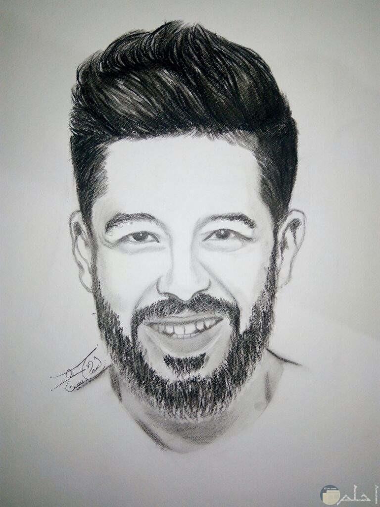 رسم بالفحم للمطرب محمد حماقى.