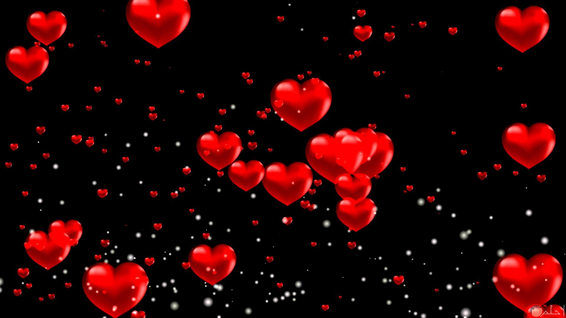 قلوب حمراء مع خلفية سوداء.