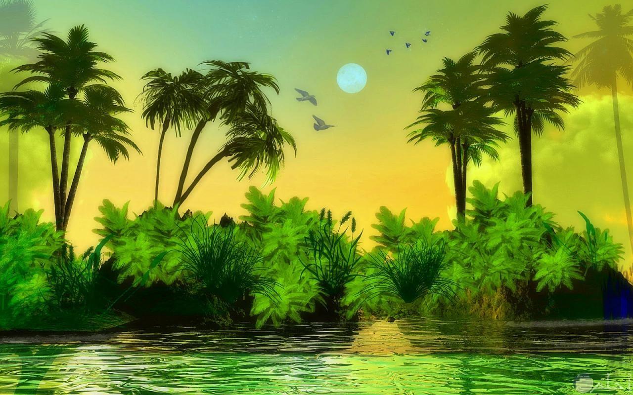 رسم للطبيعة الخضراء.
