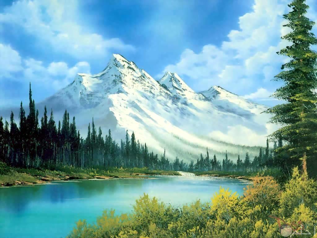 جبال ثلجية ومجري مائي واشجار