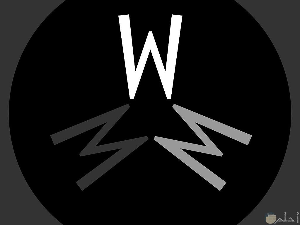 حرف w و انعكاس ظله.
