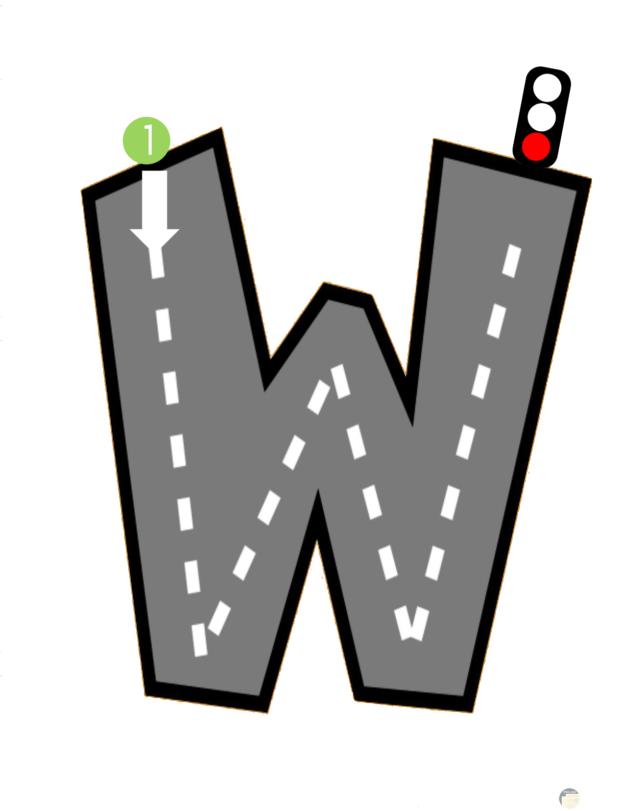 حرف w كأنه طريق.