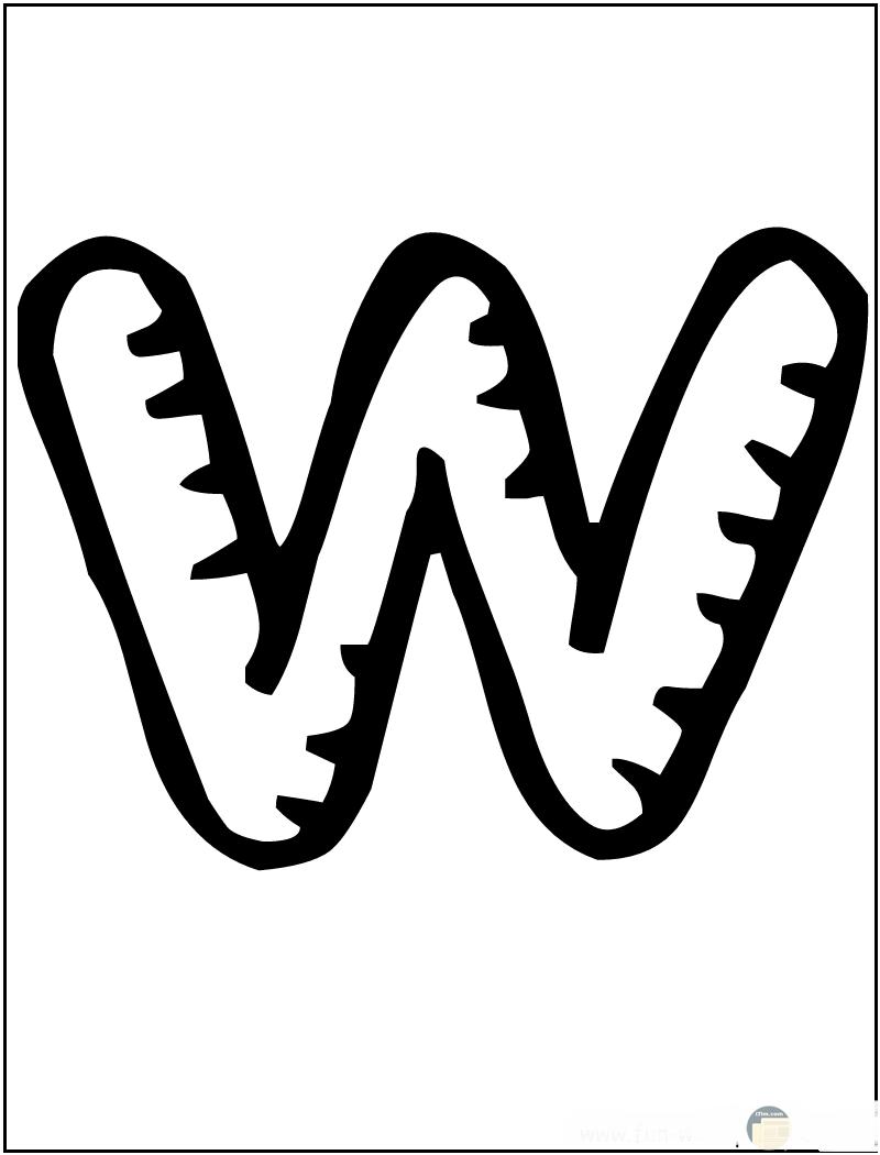 حرف w متعرج الأطراف.
