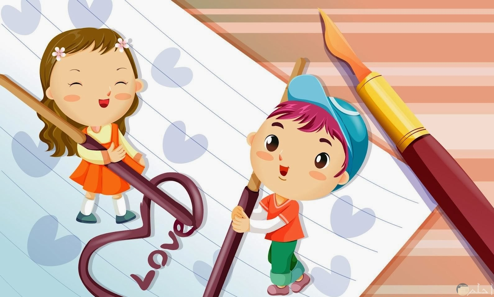 رسمة كرتون لبنت و ولد يكتبان love