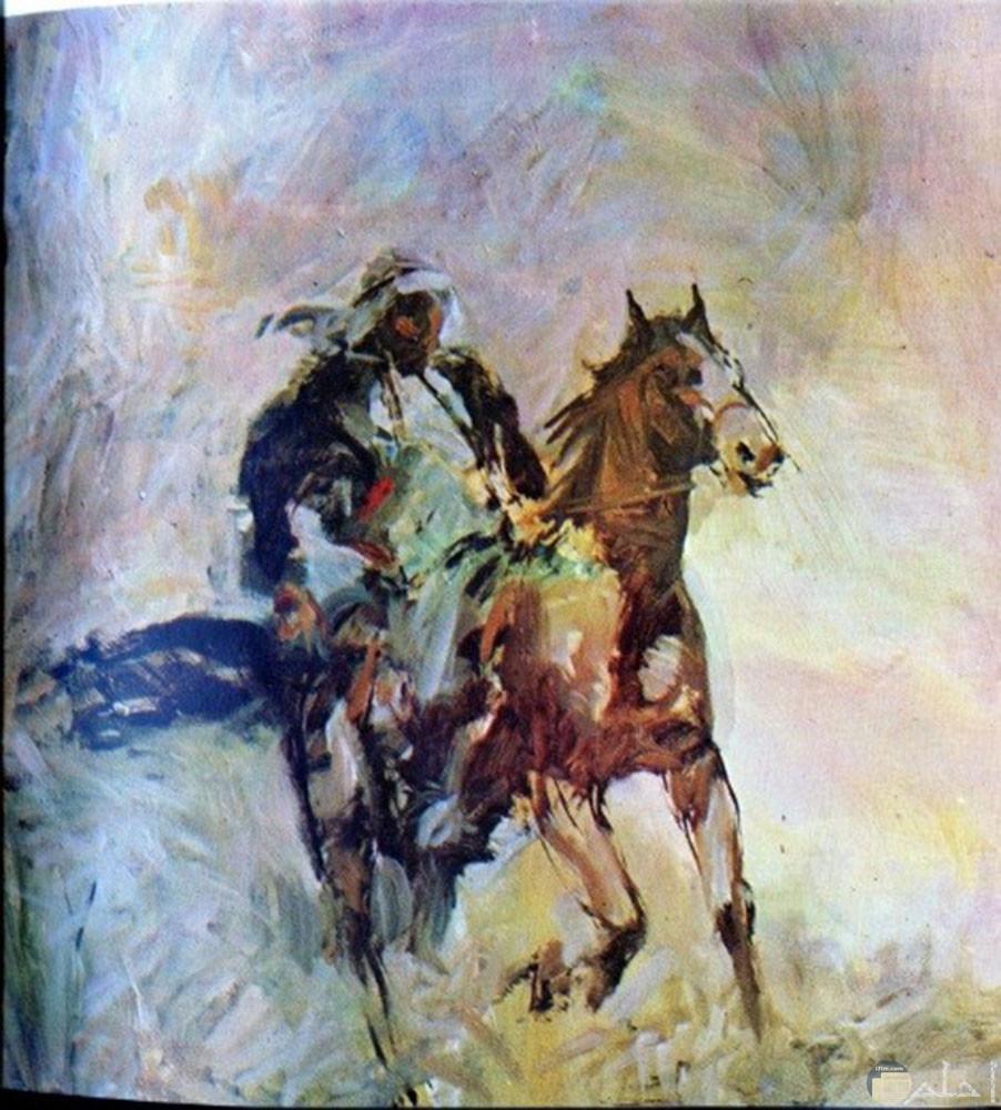رجل فوق حصان رسم زيت