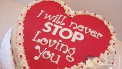 تورتة _ مكتوب عليها لن اتوقف عن حبك.