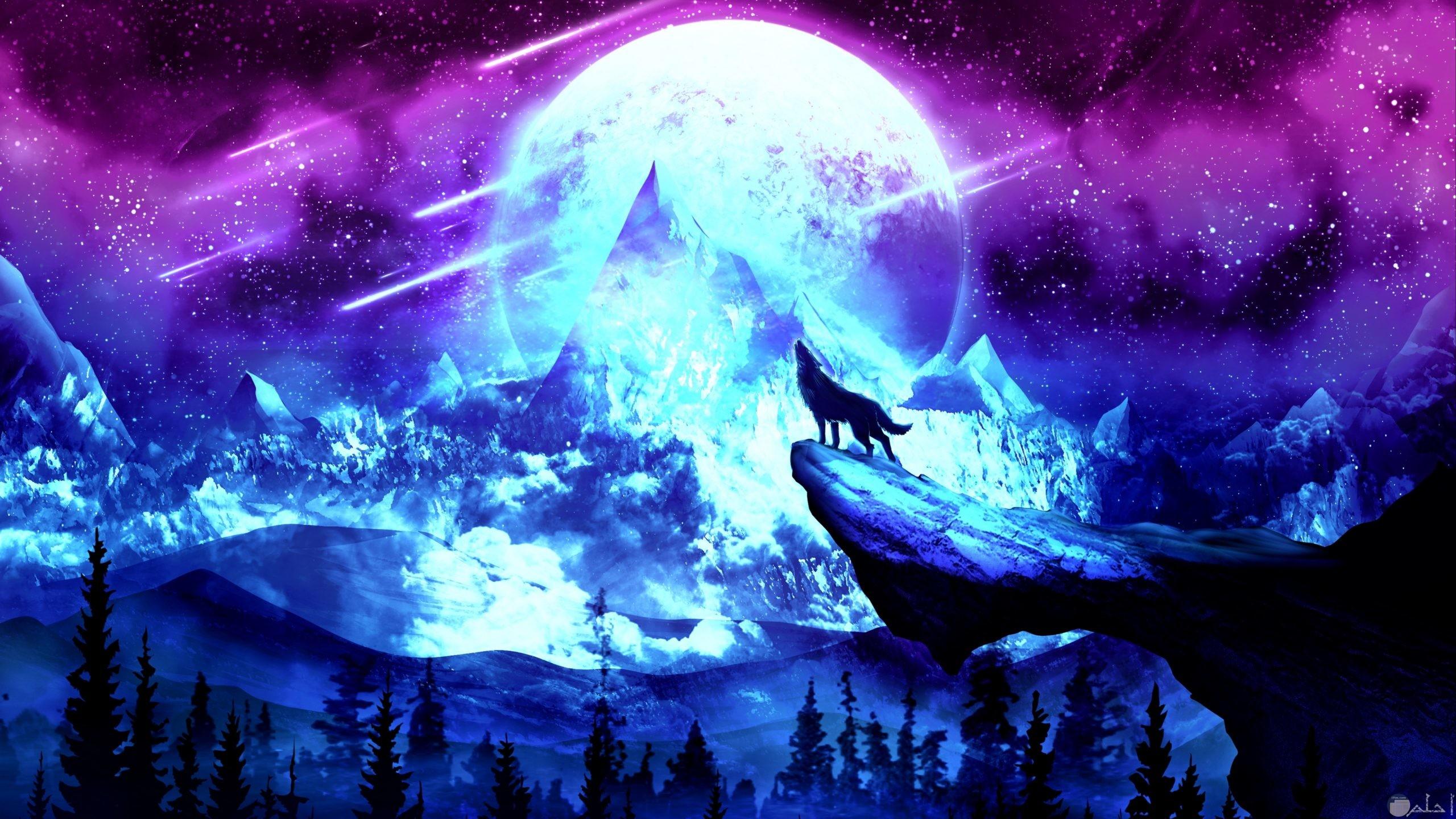 خلفية خيالية لذئب يقف أعلى الصخرة.