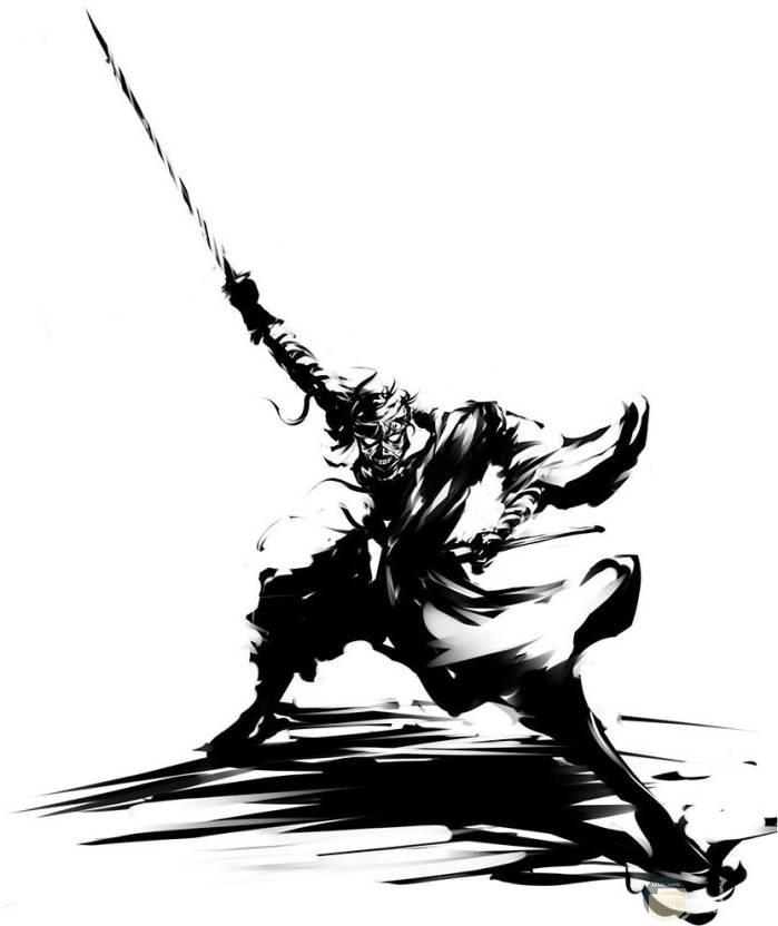 رسمة انمي ابيض و اسود مقاتل نينجا.