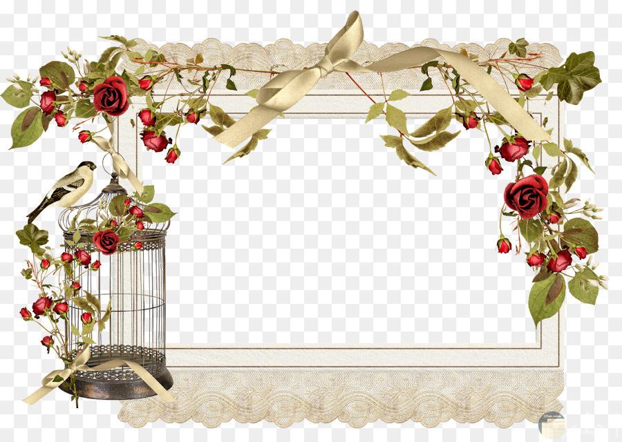 اطار برسمة قفص العصافير و زهور.