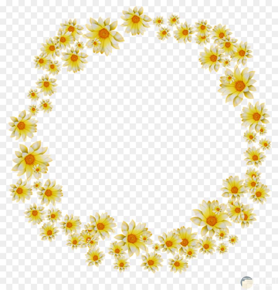 دائرة من الزهور الصفراء بخلفية شفافة.