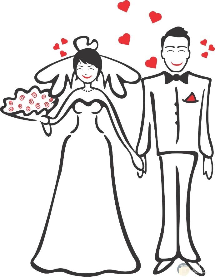 رسمة لعروسين معبرة عن الحب و الرومانسية.
