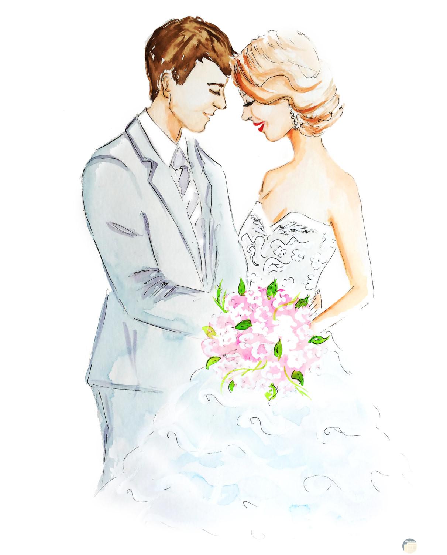 رسمة لعروسين مع بوكيه ورد روعة.