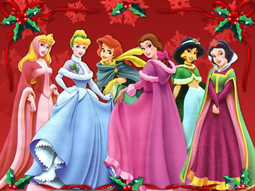 كل أميرات ديزني بخلفية مزخرفة و جميلة.