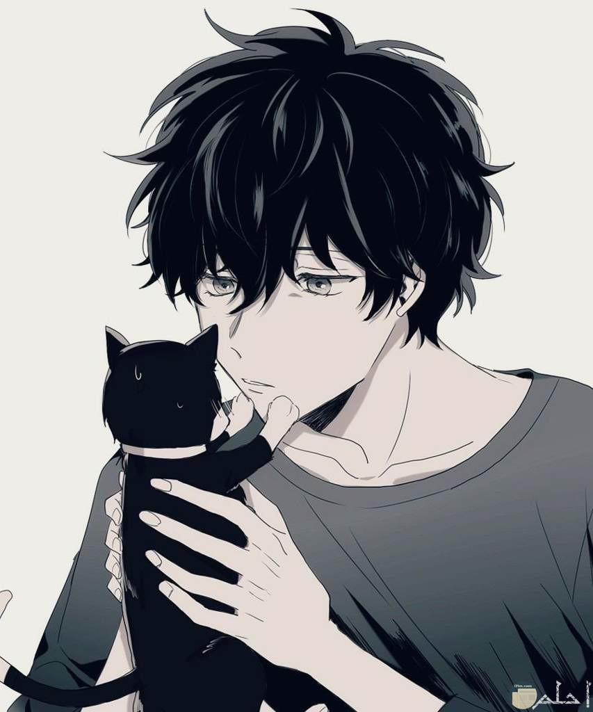 صورة ولد مع قطة