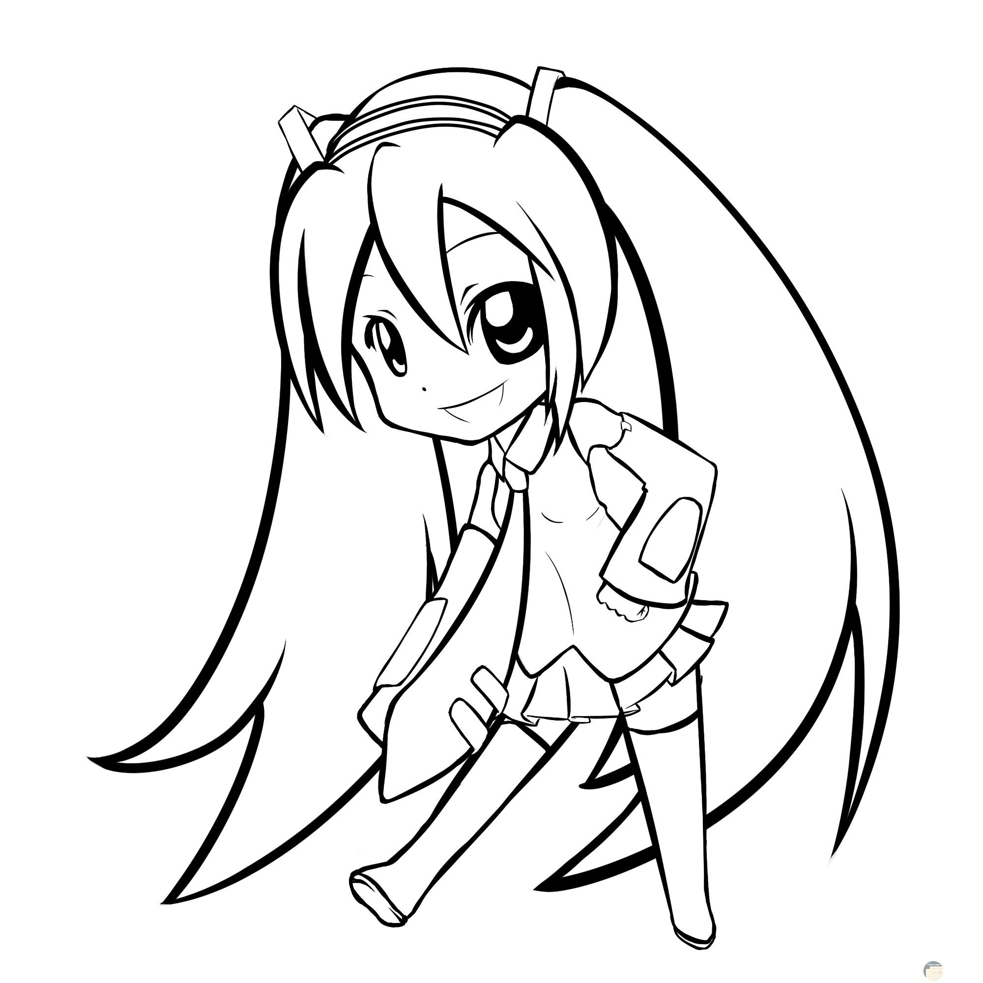 فتاة بشعر طويل للتلوين.