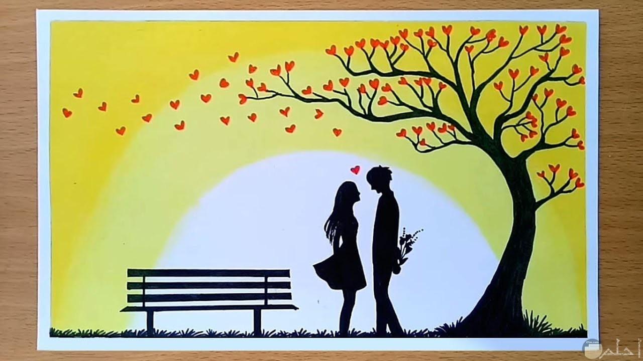 رسمة حب و رومانسية Wallpaper