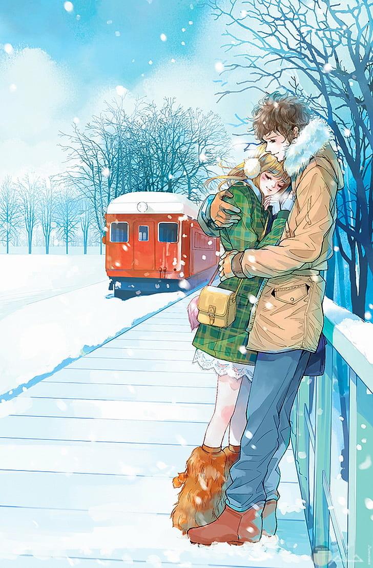رسمة لبنت و ولد يقفان في الطريق Romantic Couple