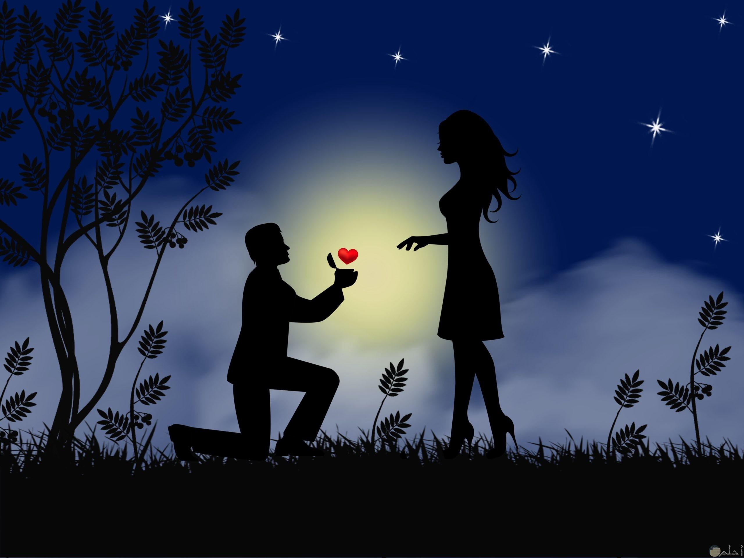 رسمة لبنت و ولد يعطيها قلب Romantic Couple