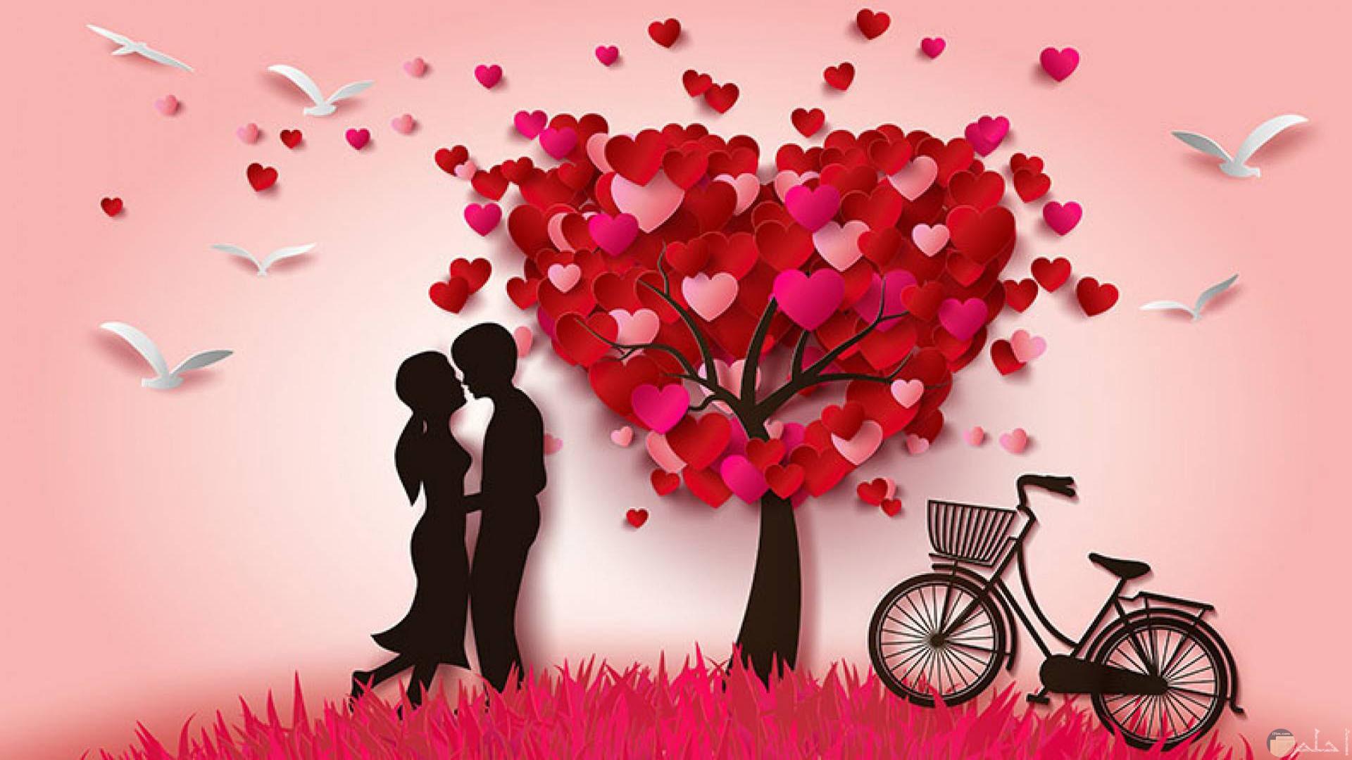 رسمة قلوب حب و رومانسية Wallpaper