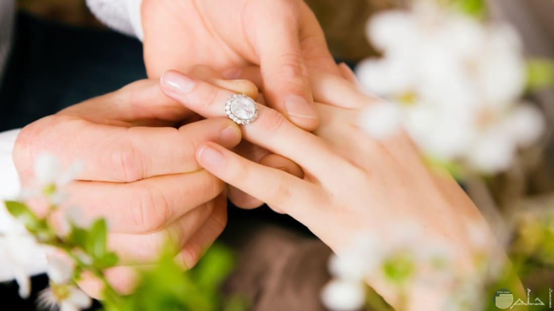 العريس يلبس عروسه الخاتم.