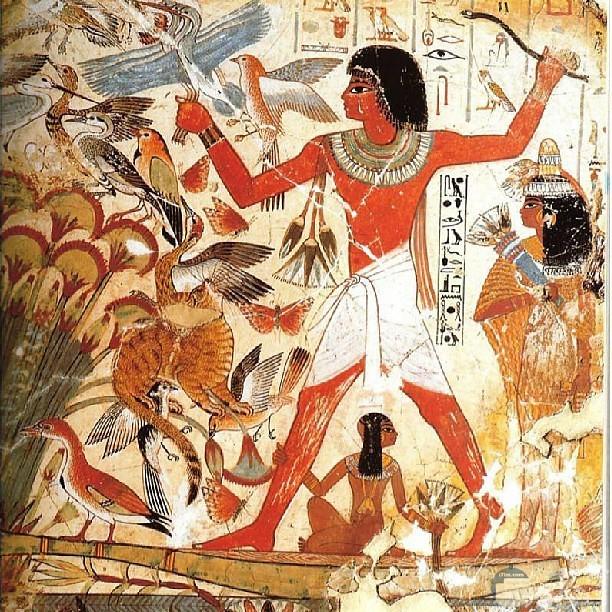 رسمة فرعونية لصيد الطيور.