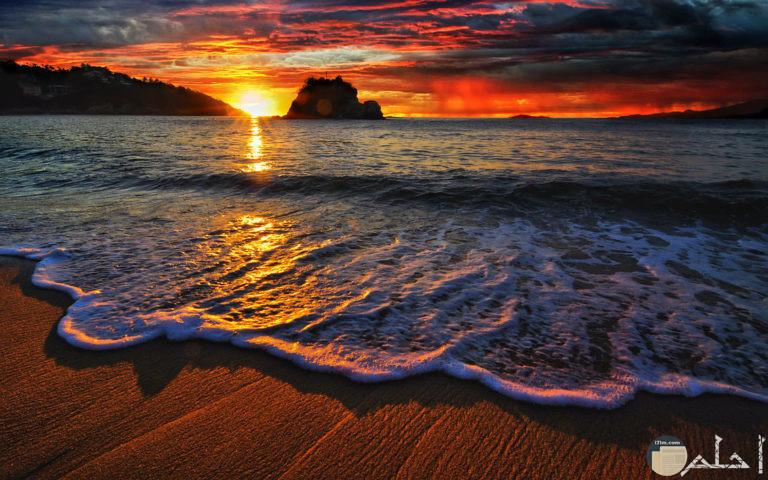 صورة للبحر في وقت الغروب