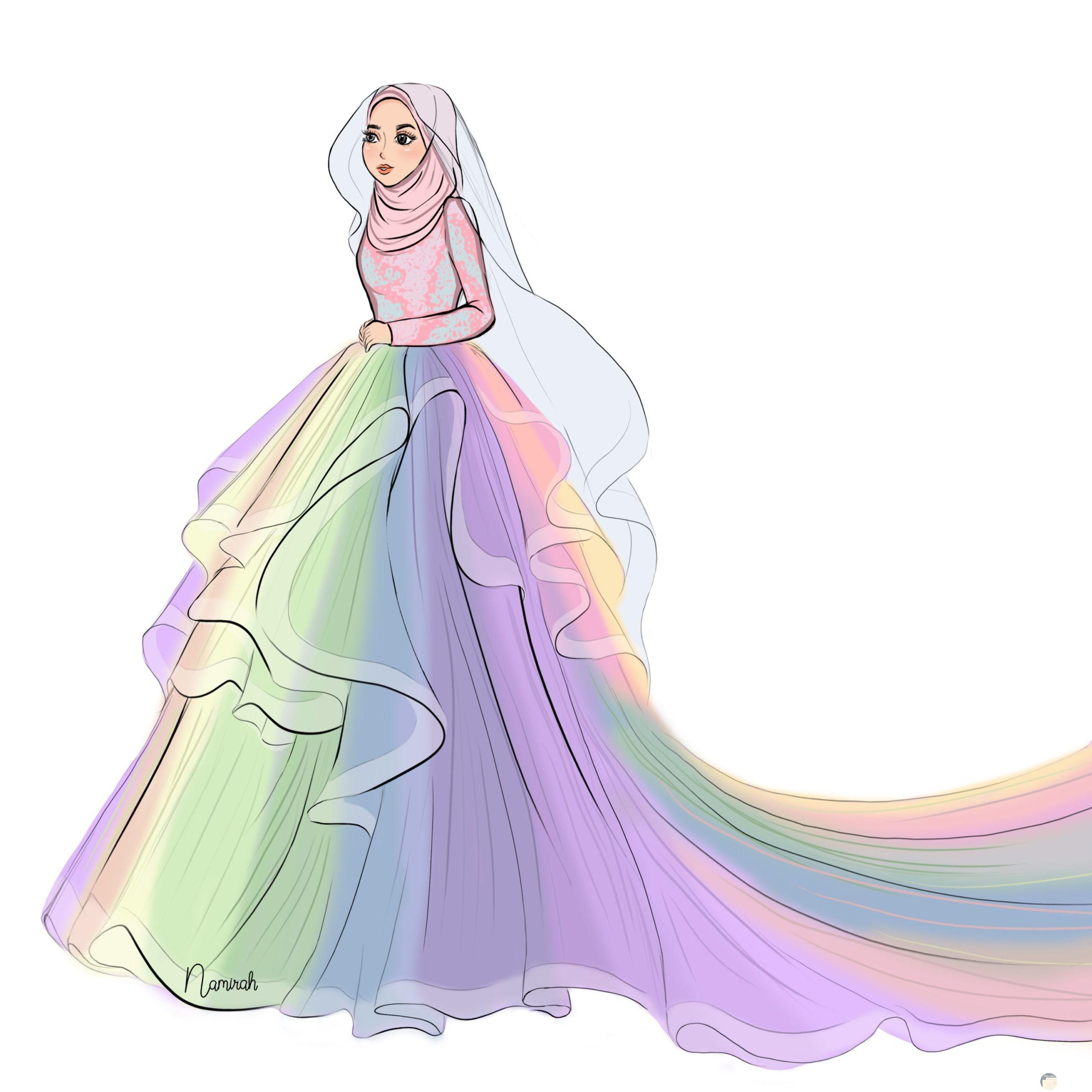 فستان زفاف للمحجبات بألوان الطيف أو قوس قزح _ جديد و عصري.