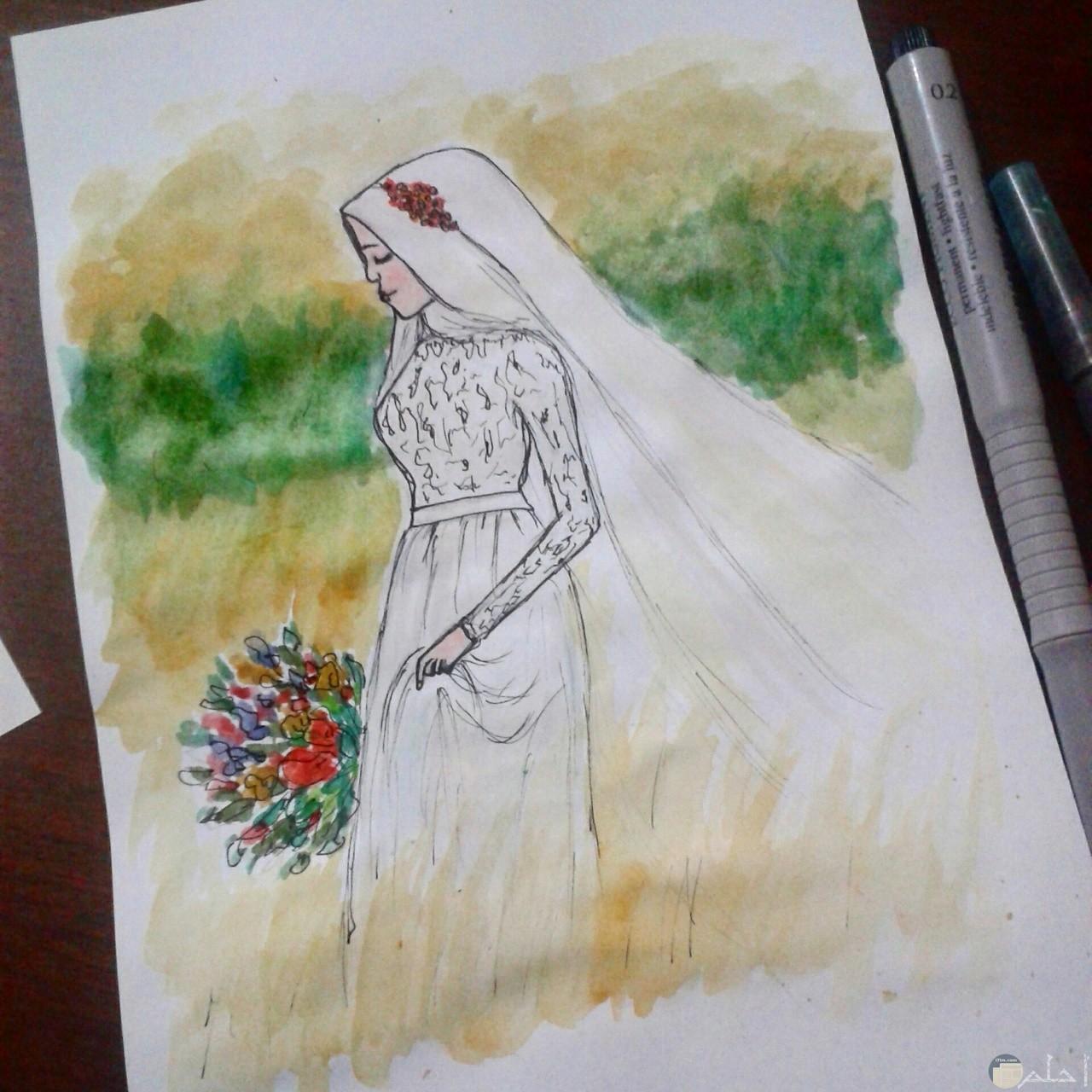 فستان زفاف رقيق و بسيط.