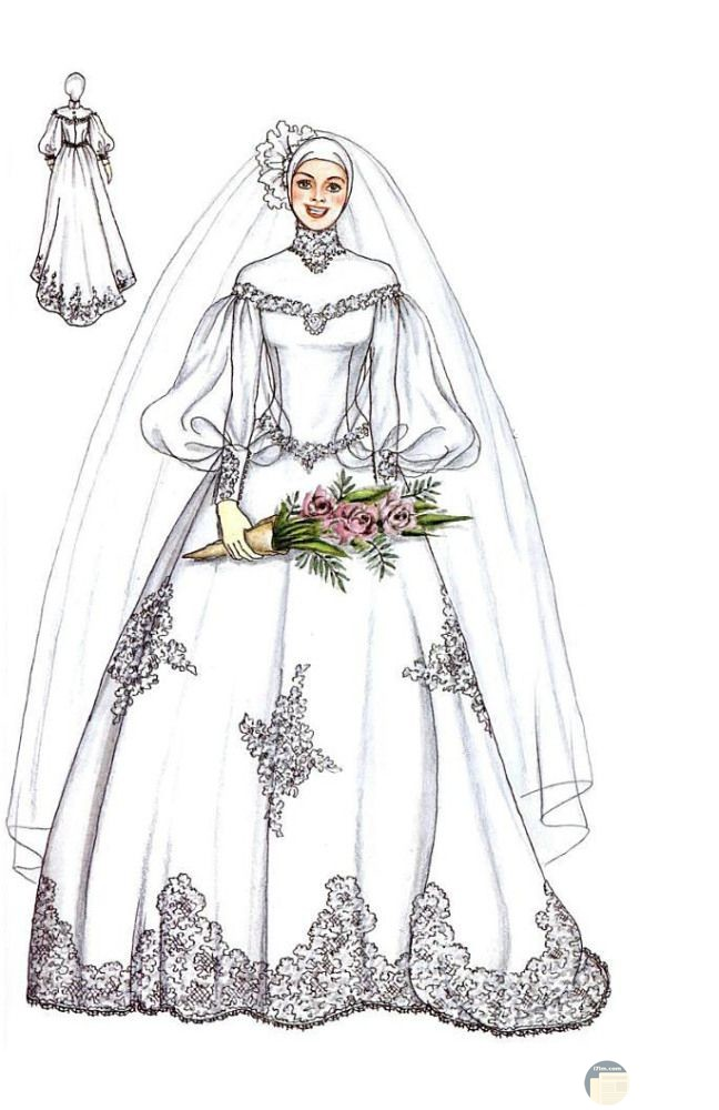 فستان زفاف للمحجبات مطرز و له أكمام مميزة الشكل.