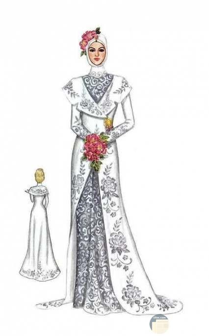 تصميم فستان فرح فخم و راقي عليه نقش بالتطرز.