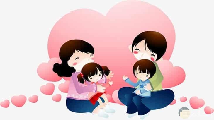 صورة عائلة انمي سعيدة