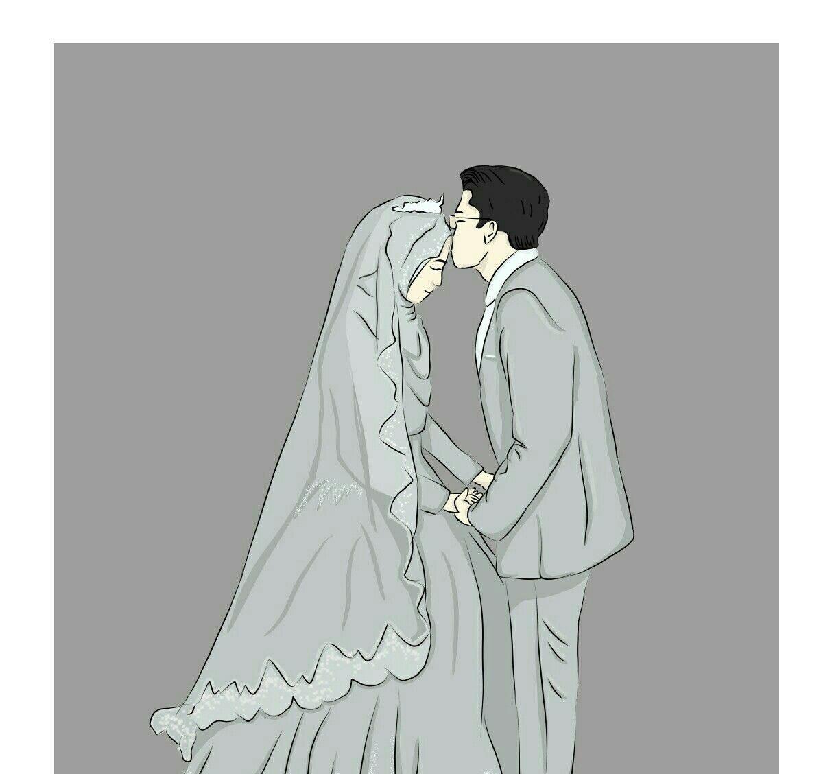 زفاف و رومانسية لزوجين العروسة محجبة و جميلة.