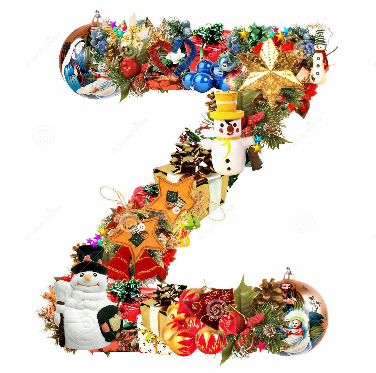 حرف z بتصميم رأس السنة و الكريسماس.