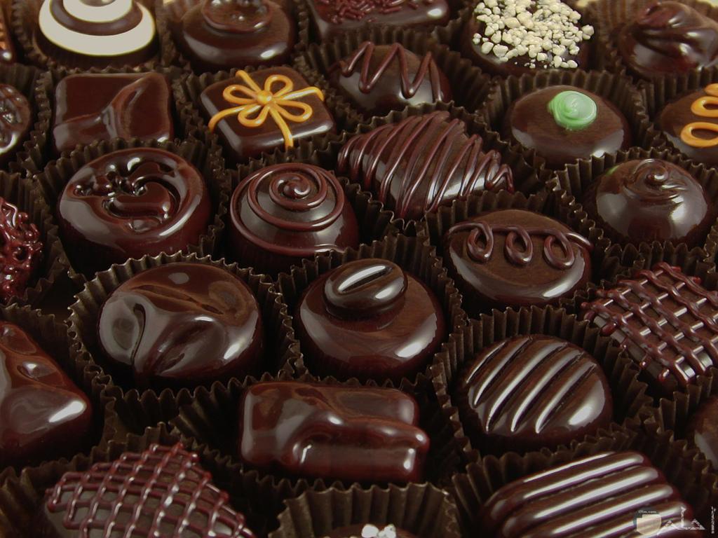 صورة جميلة لعدة اشكال للشوكولاته.