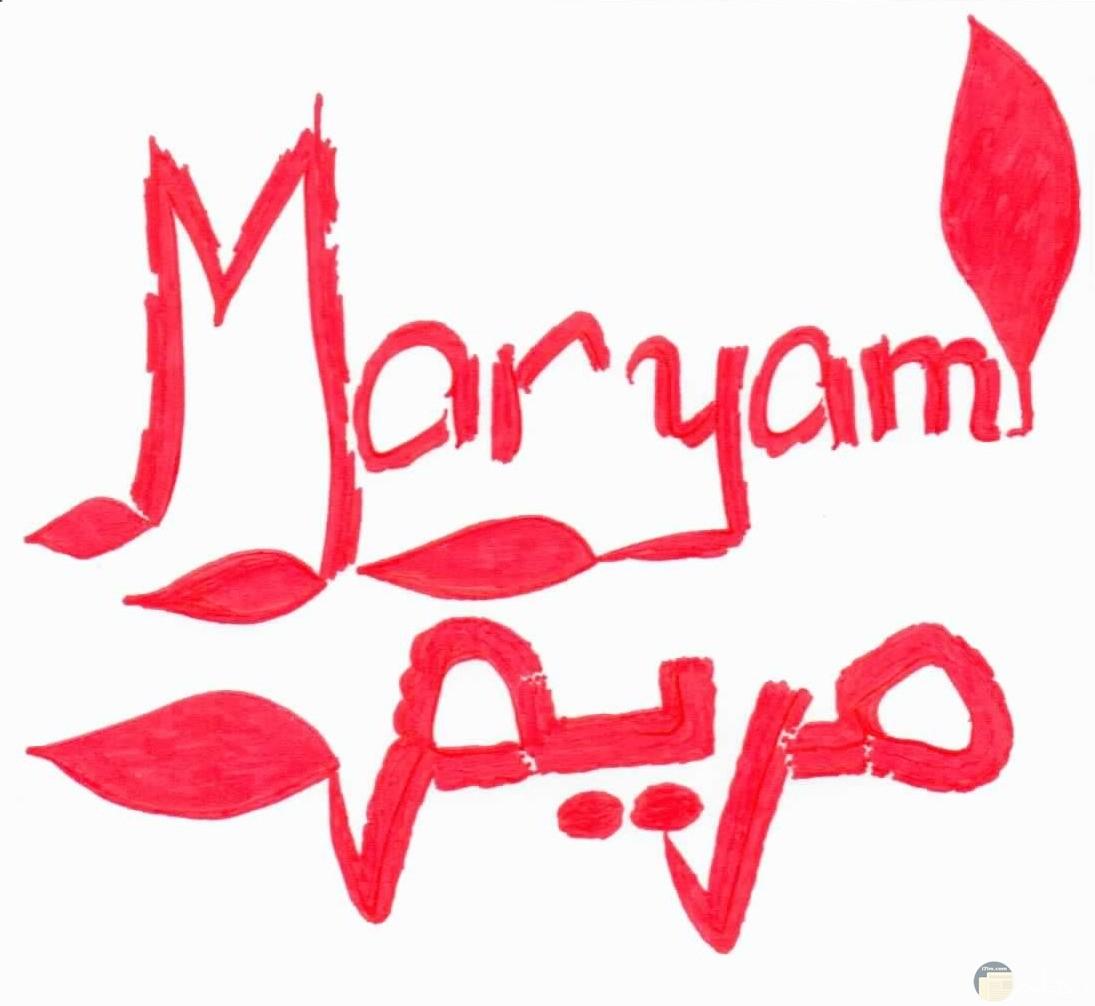 اسم مريم بالخط اليدوى مكتوب بالعربى و الانجليزى معاً.