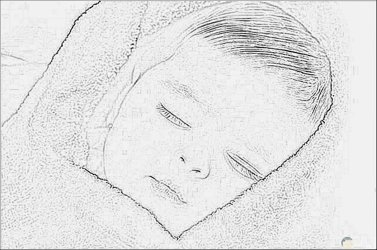 صورة مرسومة بالقلم الرصاص لطفل نائم.