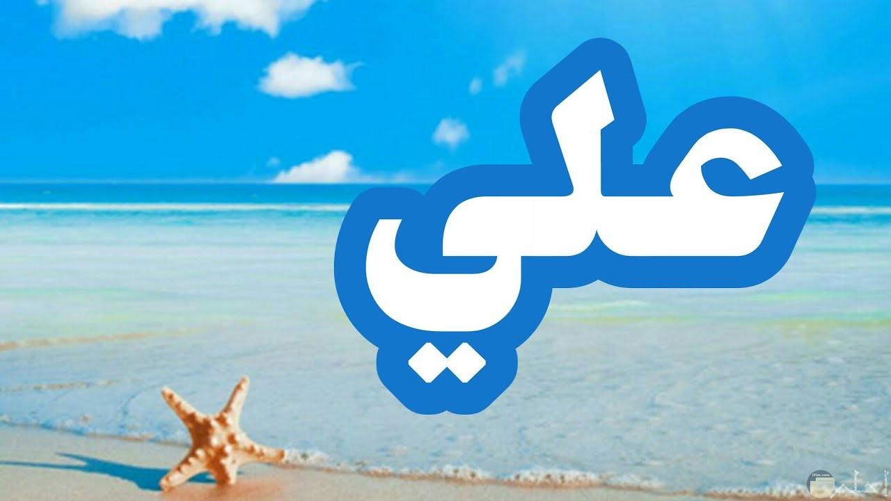صورة عن اسم على مكتوب على شاطئ البحر.