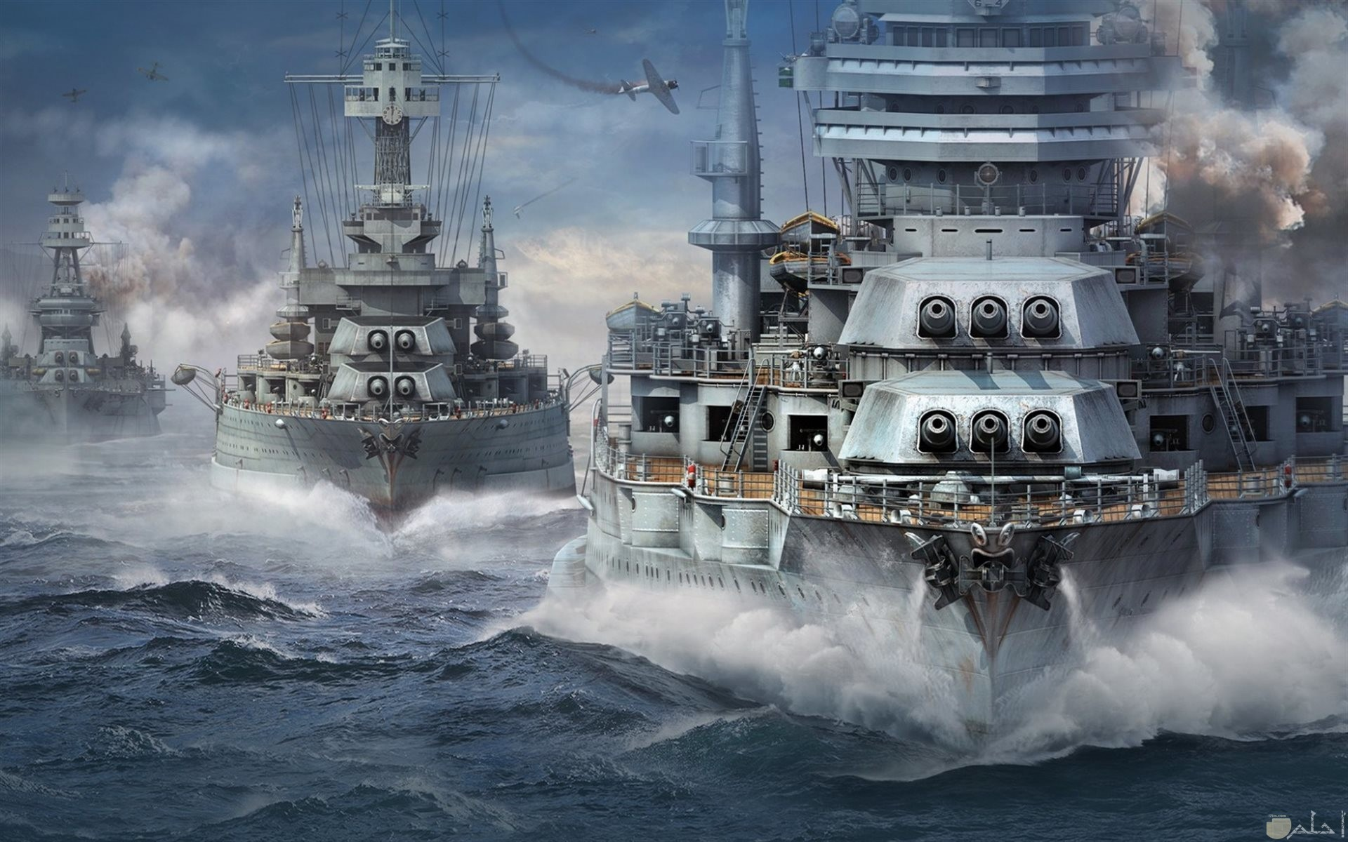 صورة سفن تبحر وسط الموج العالى.