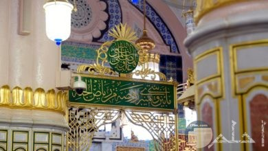 منبر المسجد النبوى الشريف و الروضة الخضراء.