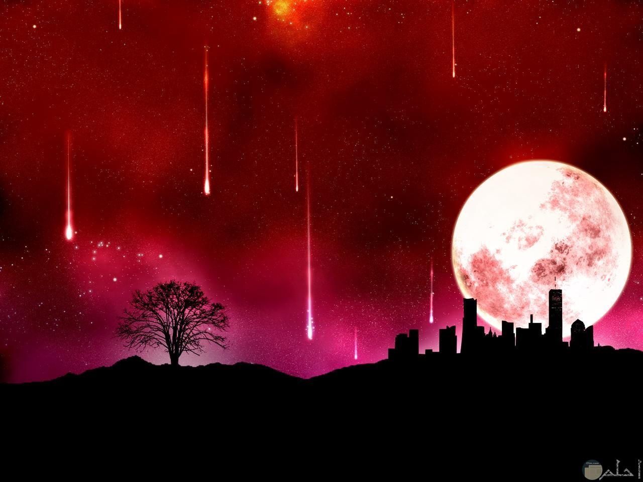 صورة ليلية للقمر و المنازل.
