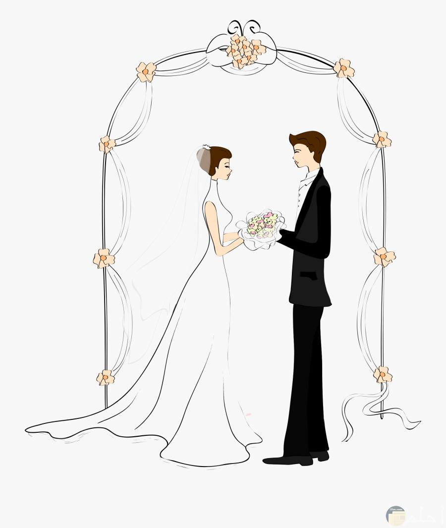 رسمة ملونة لعروسين يوم الزفاف.
