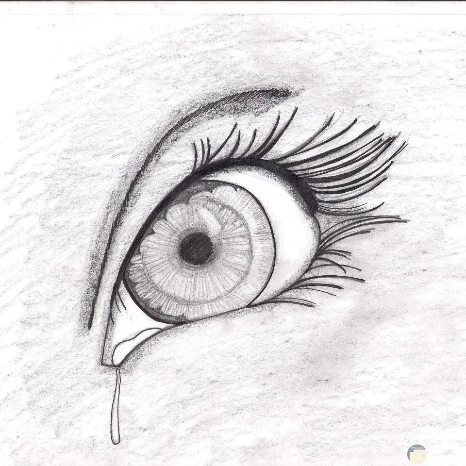 صورة مرسومة بالقلم الرصاص لعين تدمع.