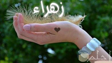 صورة اسم زهراء محمول على كف اليد.