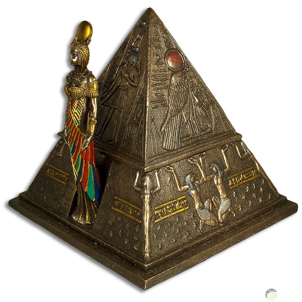 صورة فرعونية تشتمل على هرم و ملك على بابه.