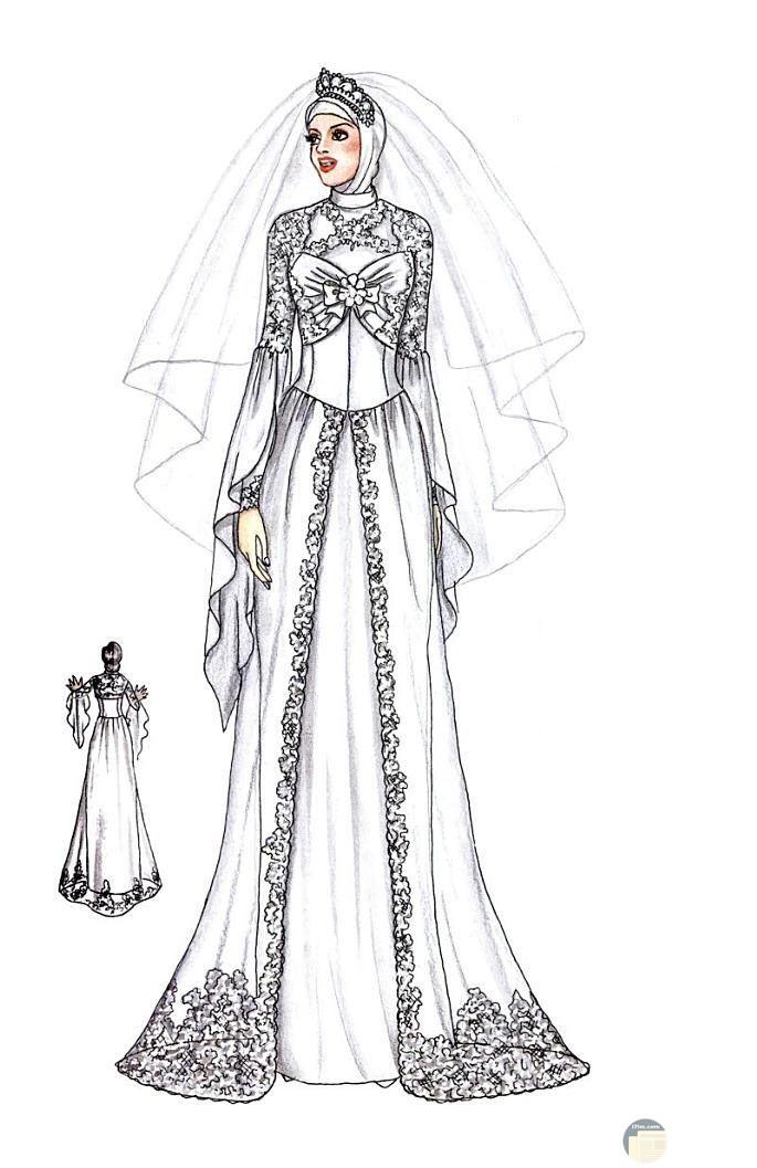 تصميم فستان زفاف للمحجبات بالجيبير و التطريز.