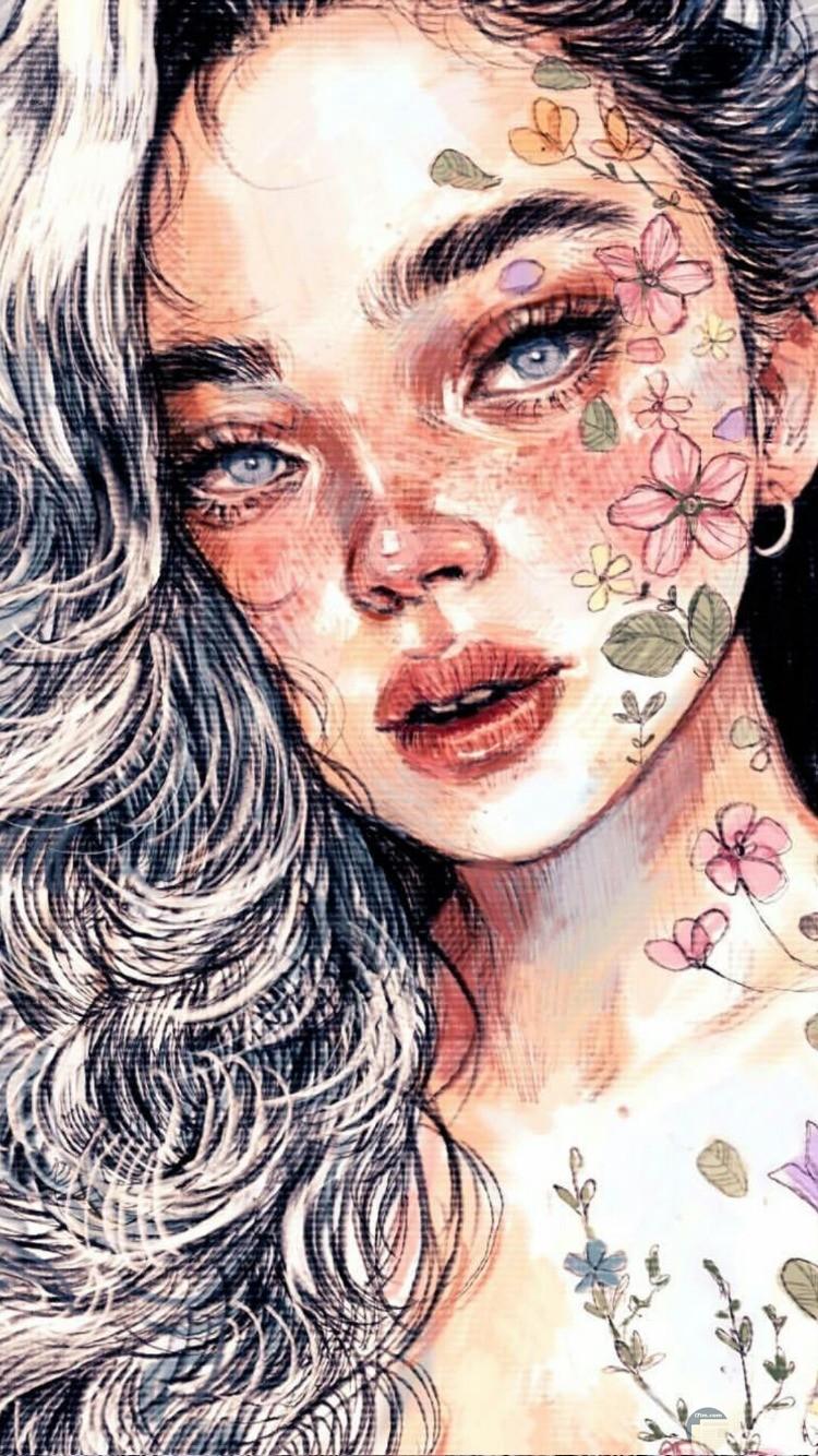 بنت انمي مع الورد المتداخل رقيقة و معبرة.