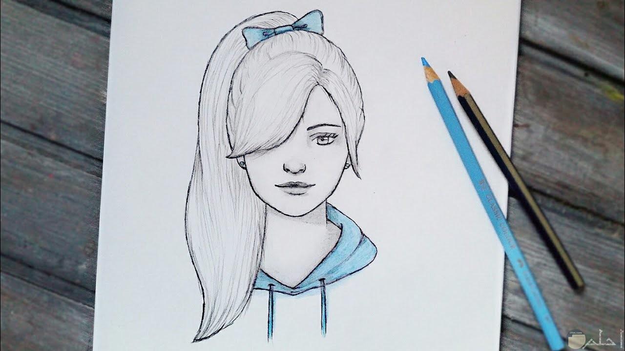 رسم فتاة شعرها طويل