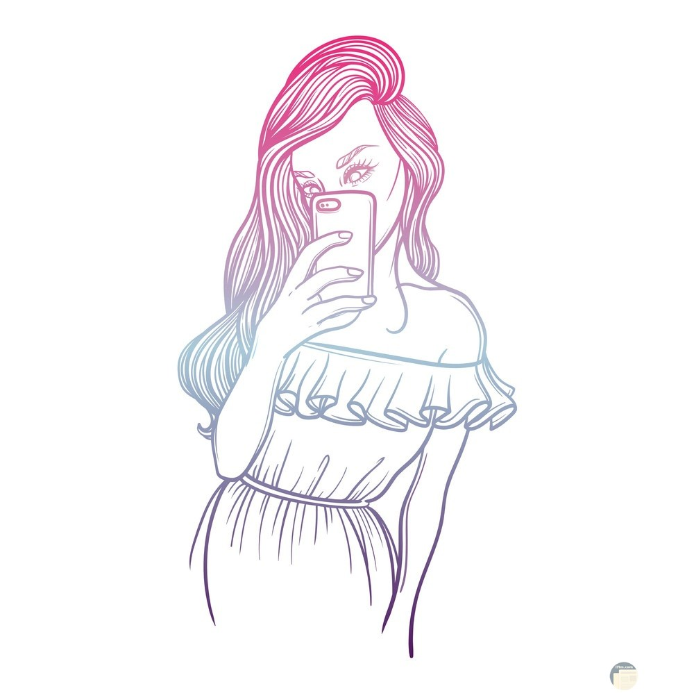 رسمة بنت جميلة تمسك هاتف محمول.
