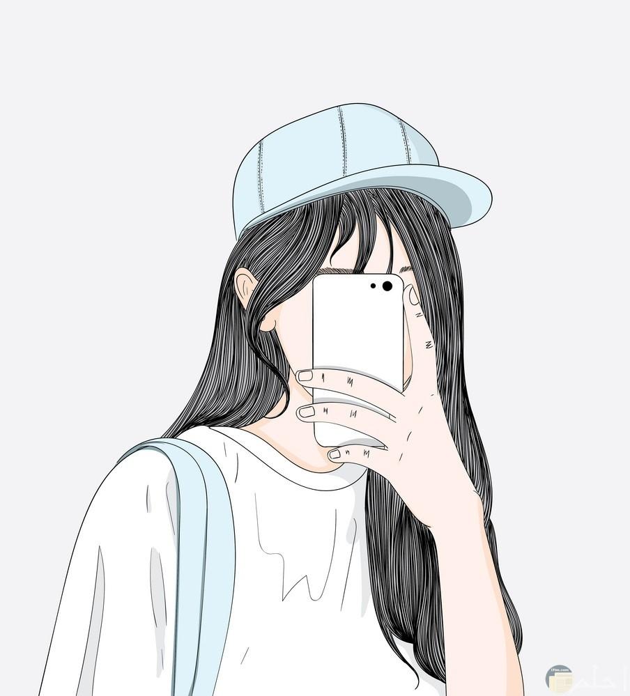 رسمة بنت ملونة تلتقط صورة سيلفى بالهاتف المحمول.